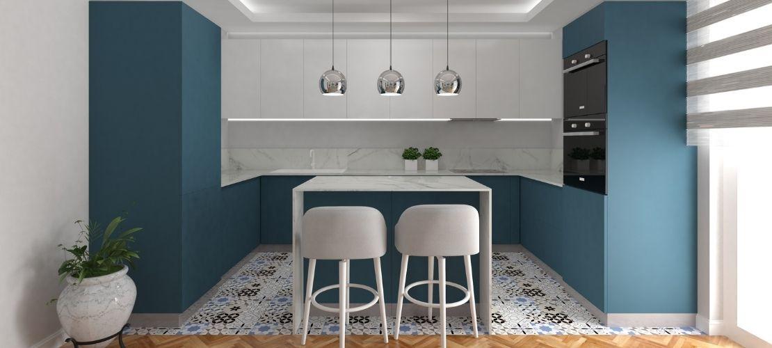 Le bleu canard pour une cuisine tendance